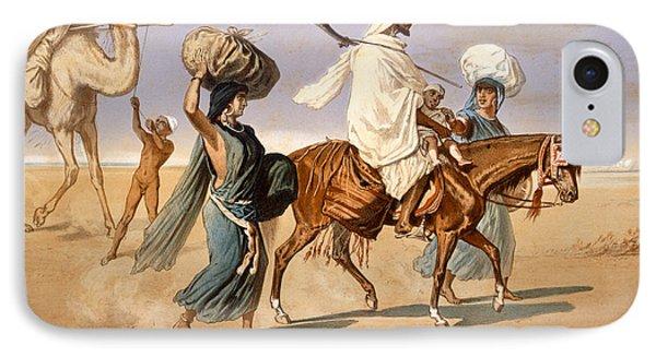 Bedouin Family Travels Across The Desert Phone Case by Henri de Montaut