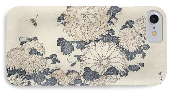 Bee And Chrysanthemums IPhone Case by Katsushika Hokusai