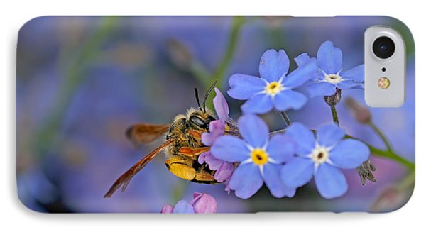 IPhone Case featuring the photograph Bee And Forget-me-nots by Peggy Collins
