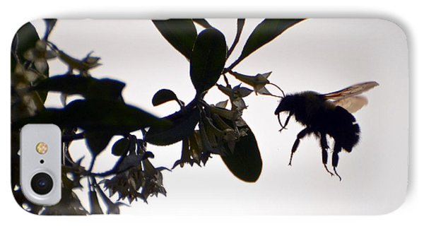 IPhone Case featuring the photograph Bee In Flight  by Kerri Farley