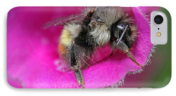 IPhone Case featuring the photograph Bee In Foxgloves by Peggy Collins
