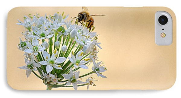 IPhone Case featuring the photograph Bee In The Garlic Chives by AJ  Schibig