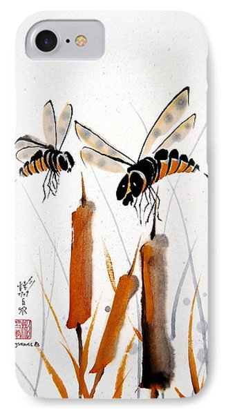 IPhone Case featuring the painting Bee-ing Present by Bill Searle