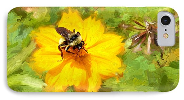 Bee On Flower Painting IPhone Case by Ludwig Keck