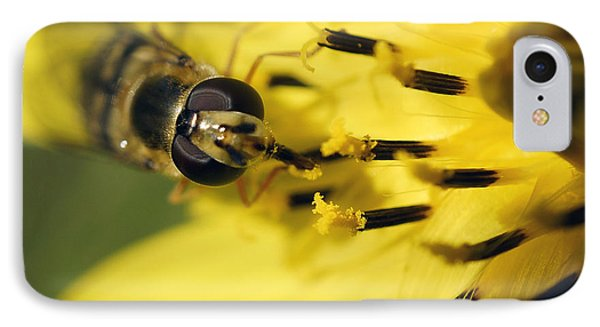 IPhone Case featuring the photograph Bee On Yellow by Inge Riis McDonald