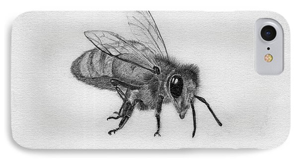 Bee Pencil Drawing Phone Case by Dan Julien
