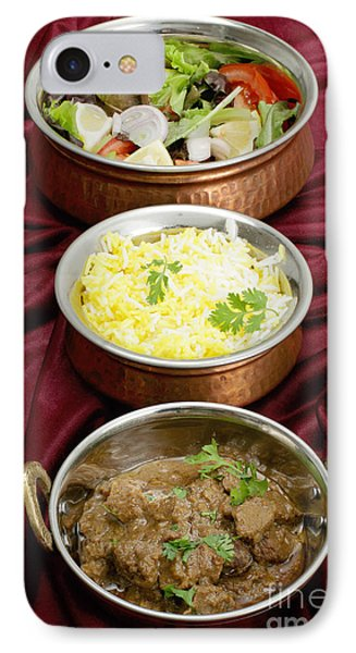 Beef Rogan Josh With Rice And Salad IPhone Case by Paul Cowan