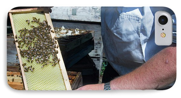 Honeybee iPhone 7 Case - Beekeeper Holding A Brood Frame by Louise Murray/science Photo Library