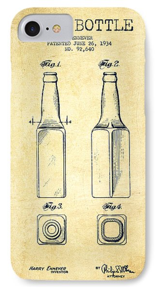 Beer Bottle Patent Drawing From 1934 - Vintage IPhone Case