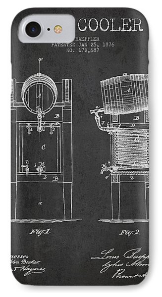 Beer Cooler Patent Drawing From 1876 - Dark IPhone Case by Aged Pixel