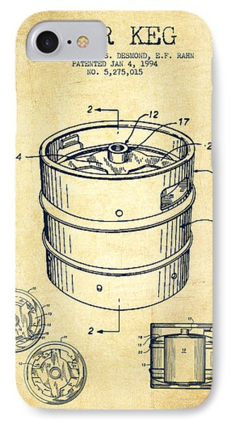 Beer Keg Patent Drawing - Vintage IPhone Case by Aged Pixel