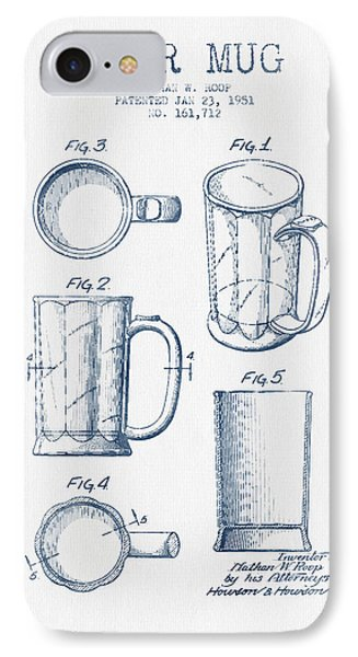 Beer Mug Patent Drawing From 1951 -  Blue Ink IPhone Case