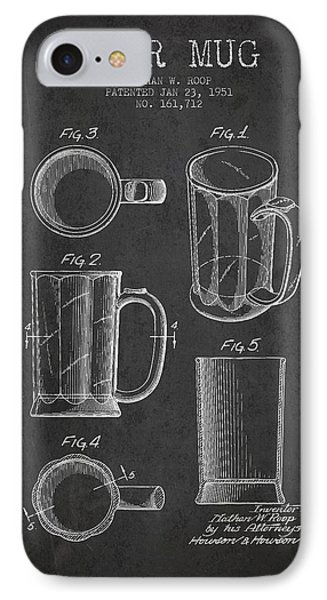 Beer Mug Patent Drawing From 1951 - Dark IPhone Case by Aged Pixel