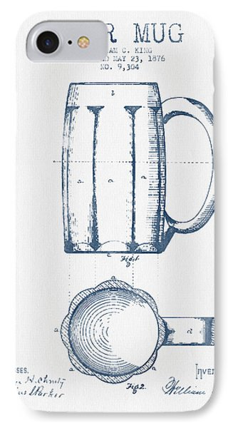 Beer Mug Patent From 1876 -  Blue Ink IPhone Case by Aged Pixel