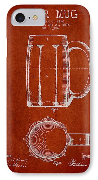 Beer Mug Patent From 1876 - Red Phone Case by Aged Pixel