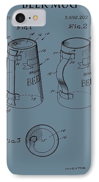 Beer Mug Patent On Blue IPhone Case by Dan Sproul