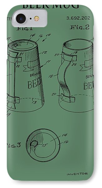 Beer Mug Patent On Green IPhone Case