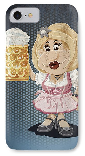 Beer Stein Dirndl Oktoberfest Cartoon Woman Grunge Color IPhone Case