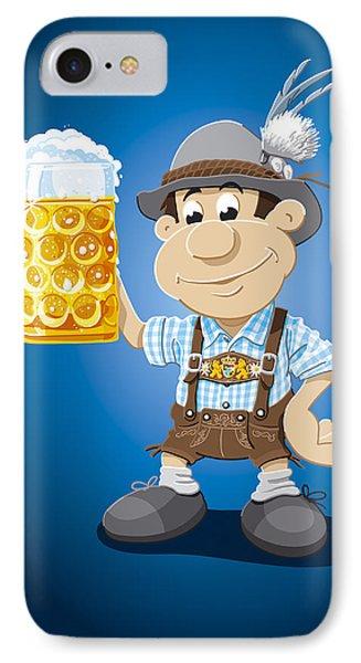 Beer Stein Lederhosen Oktoberfest Cartoon Man IPhone Case by Frank Ramspott