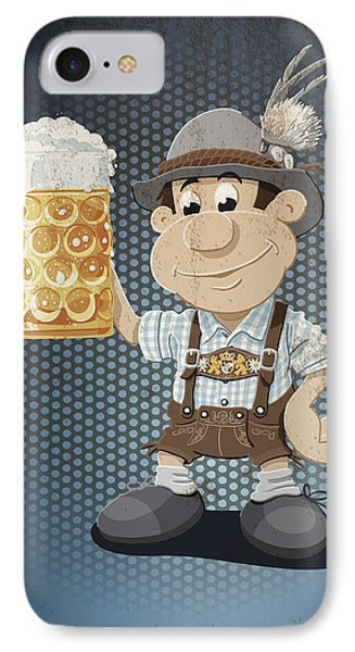 Beer Stein Lederhosen Oktoberfest Cartoon Man Grunge Color IPhone Case by Frank Ramspott