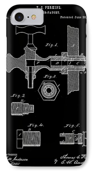 Beer Tap Patent 1876 - Black IPhone Case by Stephen Younts