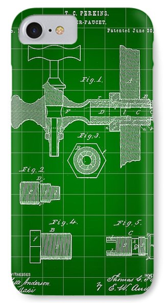 Beer Tap Patent 1876 - Green IPhone Case by Stephen Younts