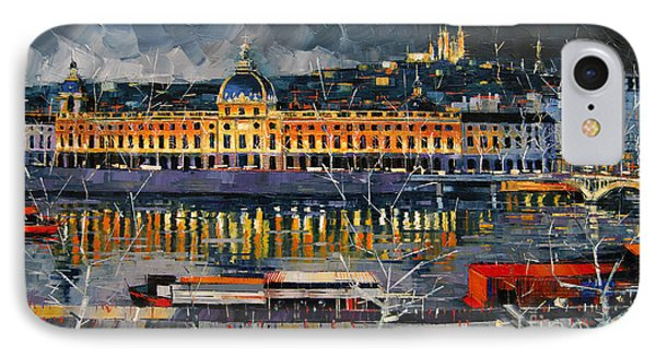 Before The Storm - View On Hotel Dieu Lyon And The Rhone France IPhone Case by Mona Edulesco