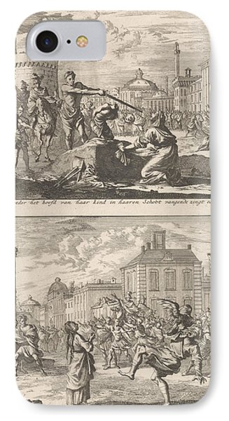 Beheading Of A Christian In Rome And Saint Agnes Who IPhone Case by Jan Luyken And Barent Visscher And Jacobus Van Hardenberg