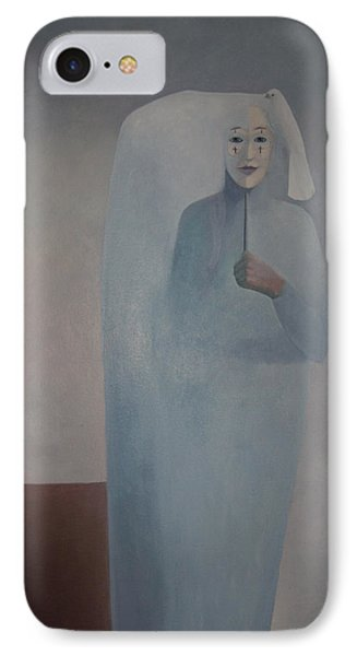 IPhone Case featuring the painting Behind Me -  Is White Lady by Tone Aanderaa