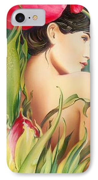 IPhone Case featuring the painting Behind The Curtain Of Colours -the Tulip by Anna Ewa Miarczynska