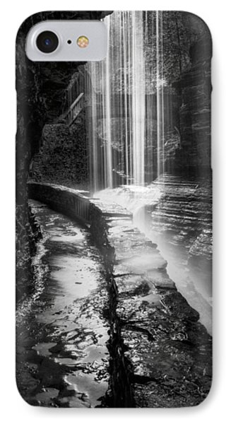 Behind The Falls Black And White IPhone Case by Bill Wakeley