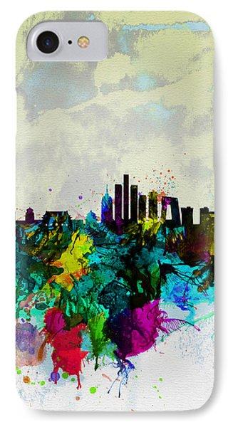 Beijing Watercolor Skyline IPhone Case by Naxart Studio