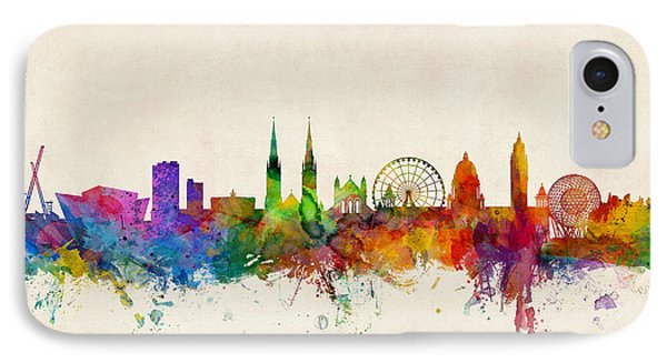 Belfast Northern Ireland Skyline IPhone Case by Michael Tompsett
