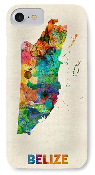 Belize Watercolor Map IPhone Case by Michael Tompsett