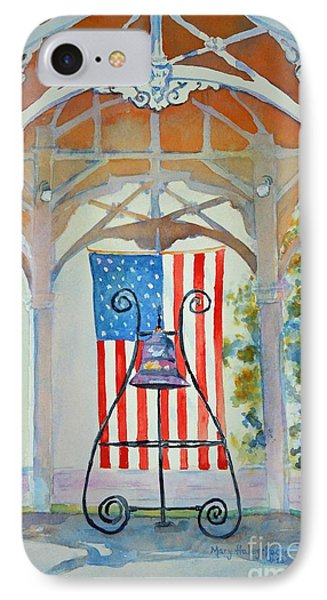 IPhone Case featuring the painting Bell And Flag by Mary Haley-Rocks