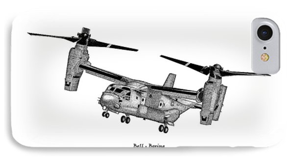 IPhone Case featuring the drawing Bell-boeing Mv-22b Osprey by Arthur Eggers