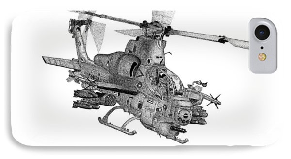 IPhone Case featuring the drawing Bell Helicopter Ah-1z Supercobra by Arthur Eggers