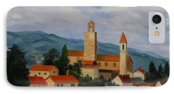 IPhone Case featuring the painting Bell Tower Of Vinci by Julie Brugh Riffey