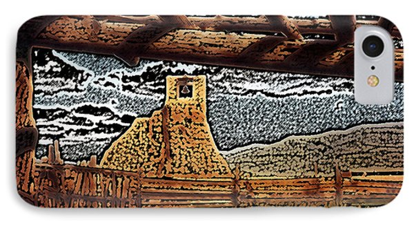 IPhone Case featuring the digital art Bell Tower Ruins At Taos Pueblo by Kathleen Stephens