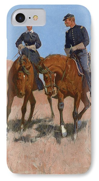 Belle Mckeever And Lt Edgar Wheelock IPhone Case by Frederic Remington