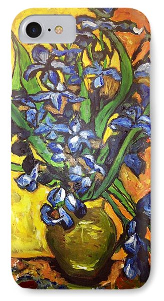 IPhone Case featuring the painting Belle's Pot Of Fiery Irises by Belinda Low