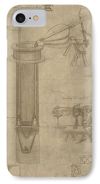 Bellows Perspectograph With Man Examining Inside From Atlantic Codex Phone Case by Leonardo Da Vinci