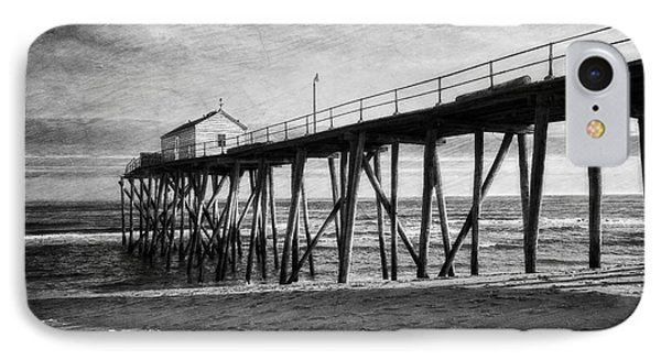 IPhone Case featuring the photograph Belmar Fishing Pier In Black And White by Debra Fedchin