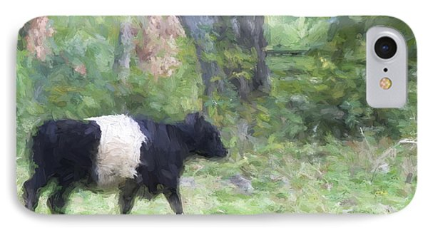 Belted Galloway Cow Painterly Effect IPhone Case by Carol Leigh