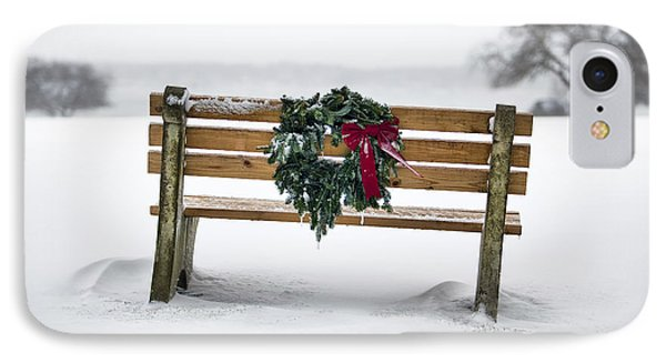 Bench And Wreath IPhone Case by Eric Gendron