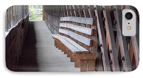 Bench Inside A Covered Bridge IPhone Case by Catherine Gagne