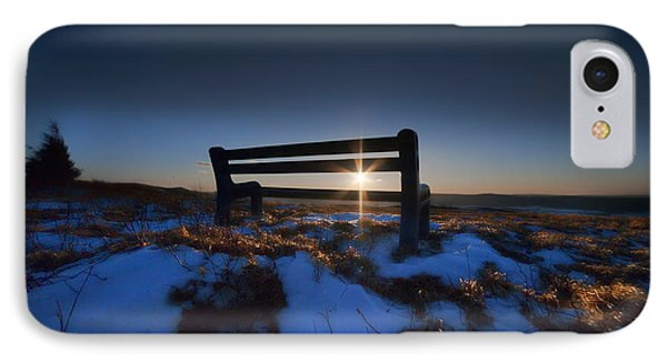 Bench On Top Of Mountain At Sunset Phone Case by Dan Friend