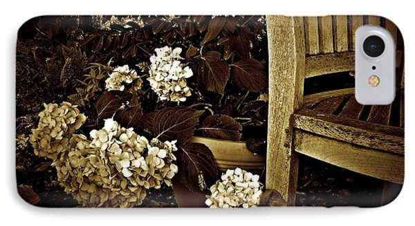Bench With Hydrangeas IPhone Case by Patricia Strand