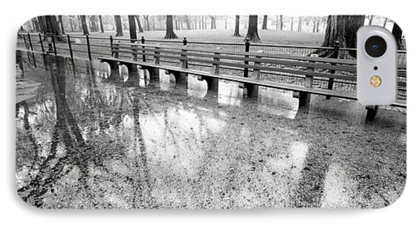 IPhone 7 Case featuring the photograph Benches Reflection Poets Walk by Dave Beckerman