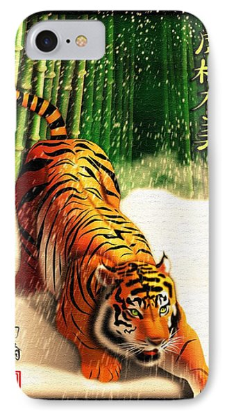 Bengal Tiger In Snow Storm  IPhone Case by John Wills